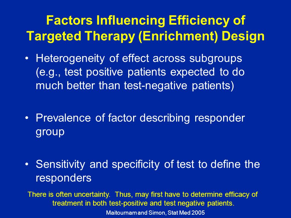 Factors Influencing Efficiency of Targeted Therapy (Enrichment) Design