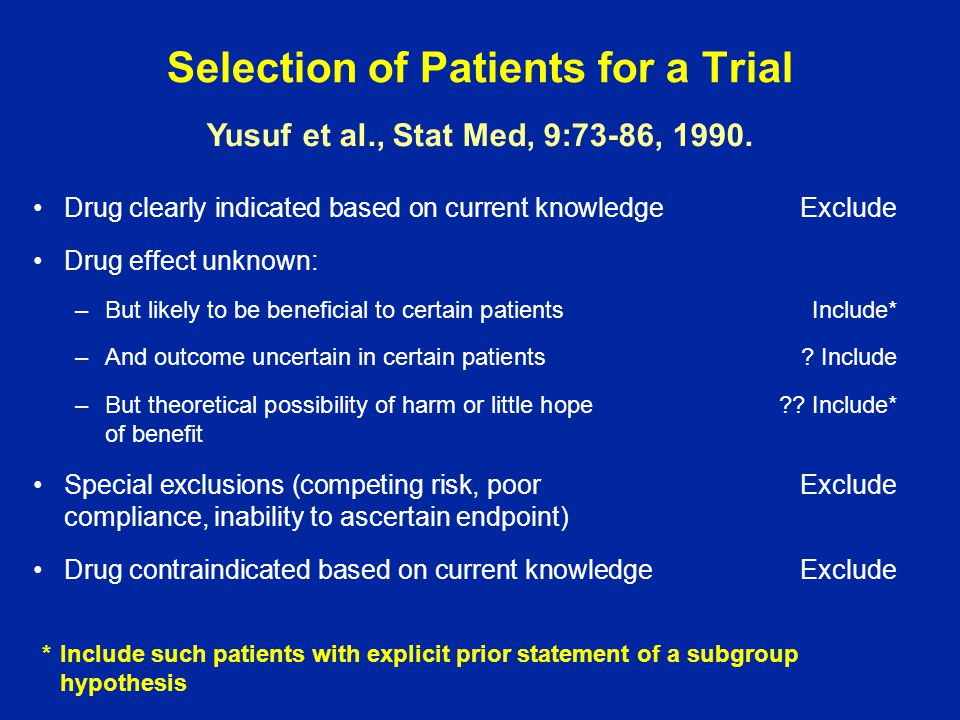 Selection of Patients for a Trial