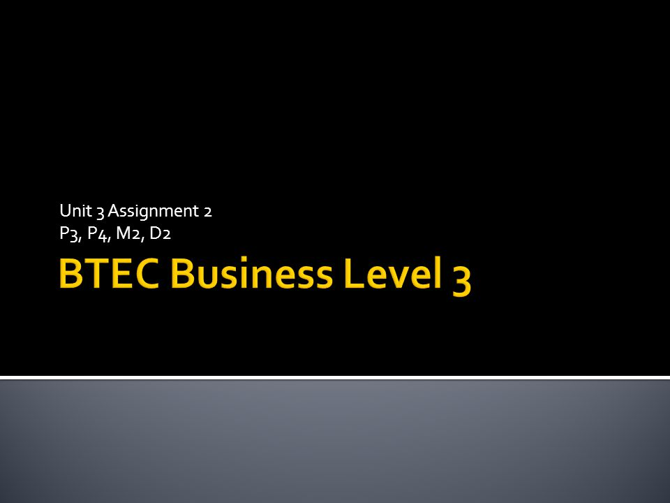 Unit 3 Assignment 2 P3, P4, M2, D2 BTEC Business Level 3
