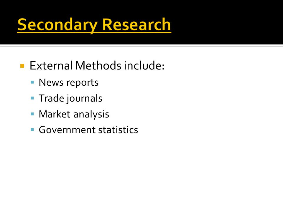 Secondary Research External Methods include: News reports