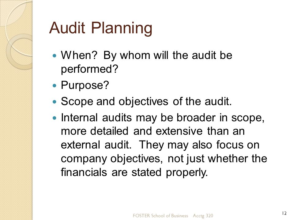 Audit Planning When By whom will the audit be performed Purpose