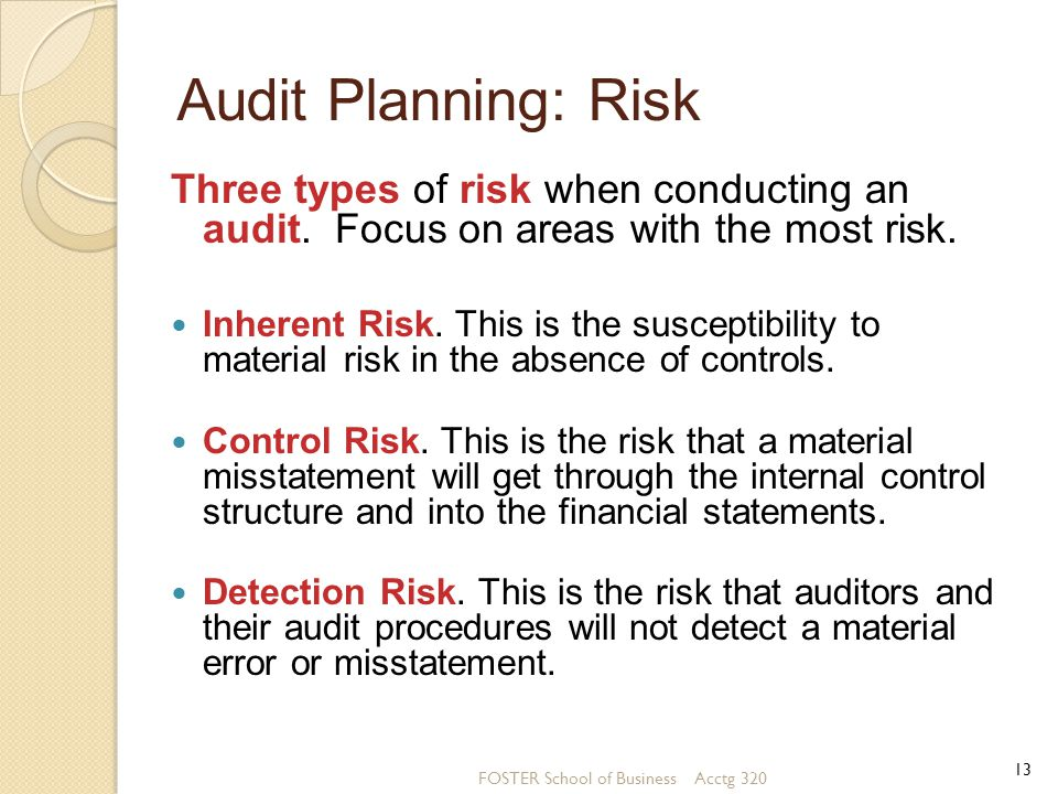 Audit Planning: Risk Three types of risk when conducting an audit. Focus on areas with the most risk.