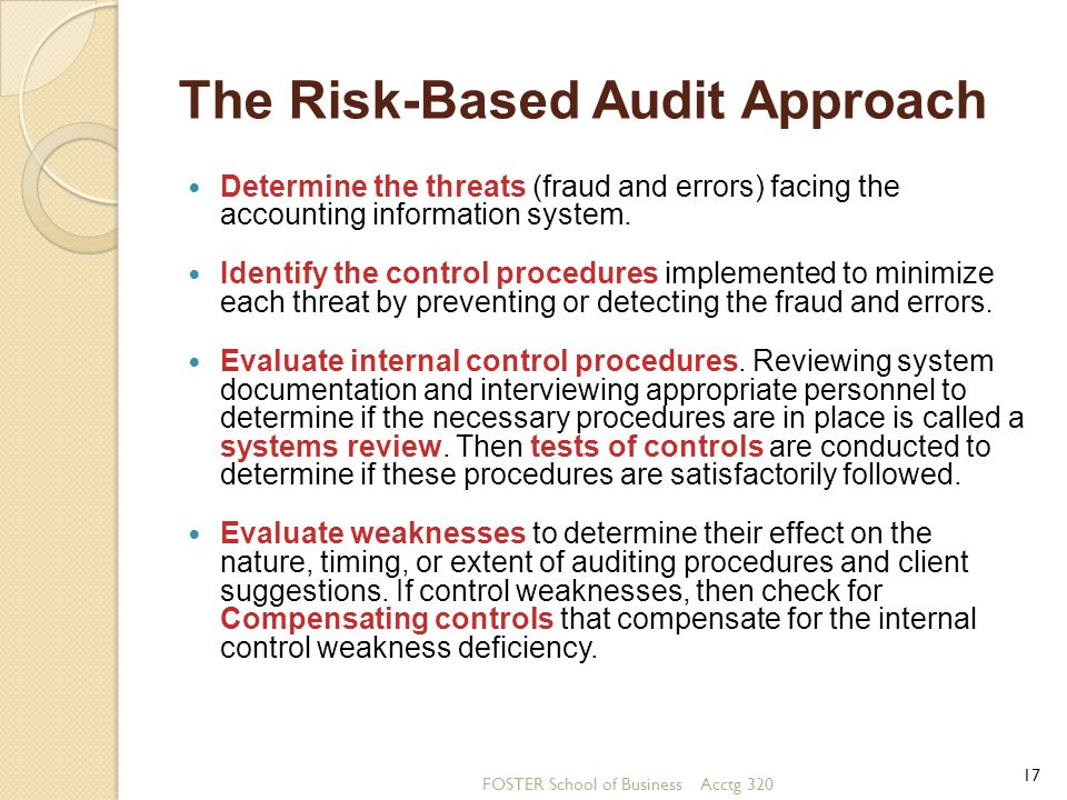 auditing the risk based approach essay The supreme audit institutions (sais) across the world conduct financial audits as part of their mandate intosai standards for supreme audit institutions (issai) for financial audit requires the auditors to adopt a risk-based approach to financial audit (rbafa) by conducting risk assessment of financial misstatements based on an assessment of.