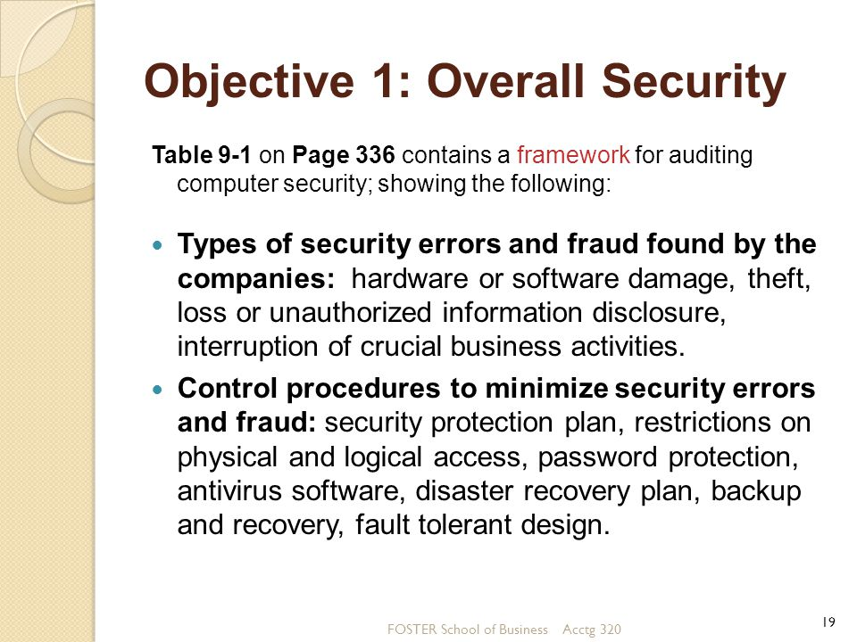 Objective 1: Overall Security