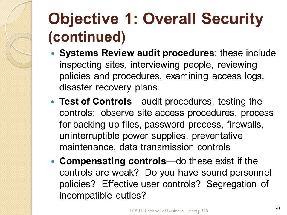 Objective 1: Overall Security (continued)