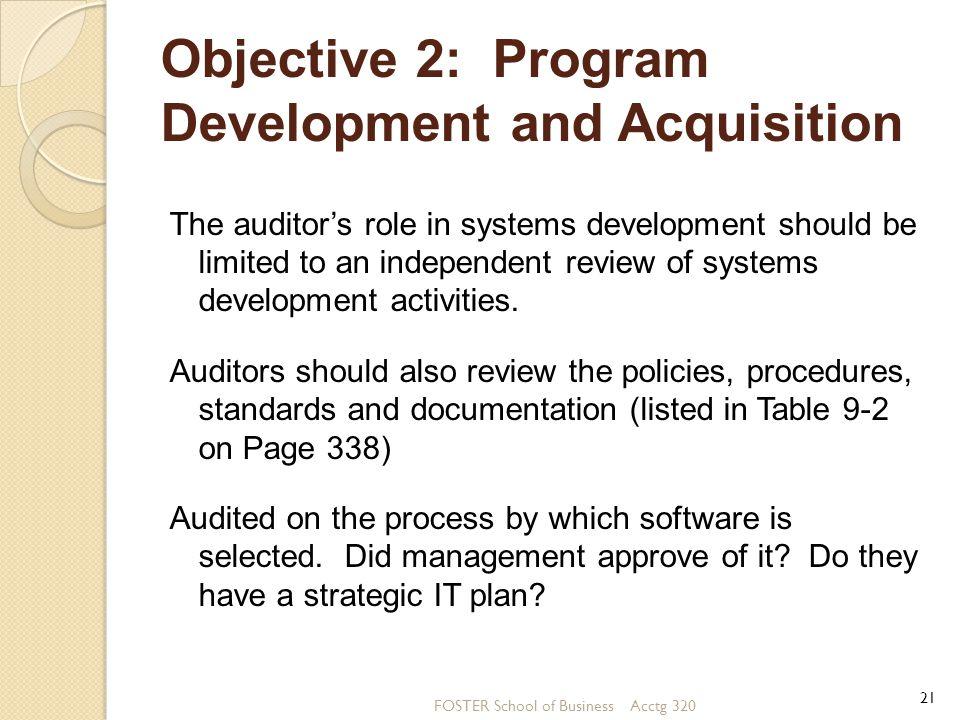 Objective 2: Program Development and Acquisition