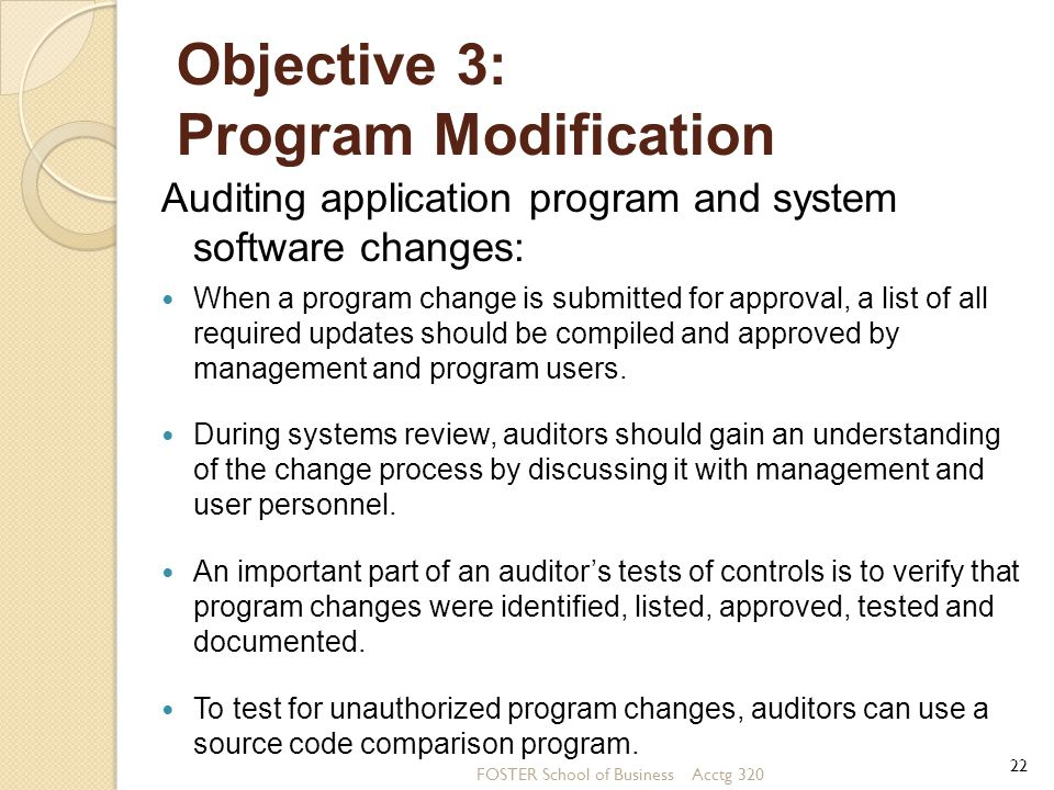 Objective 3: Program Modification