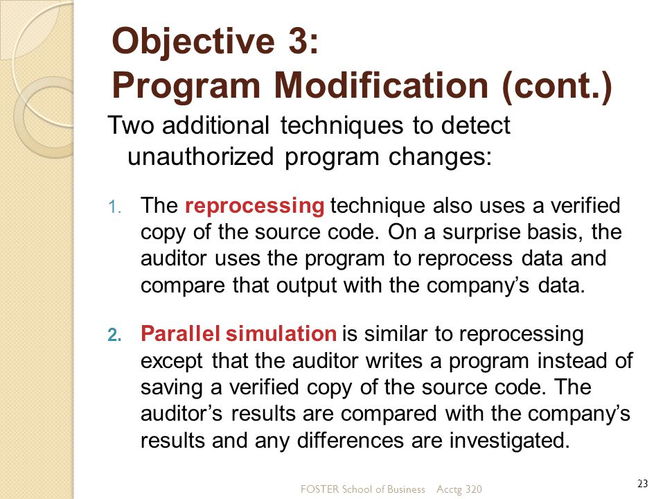 Objective 3: Program Modification (cont.)