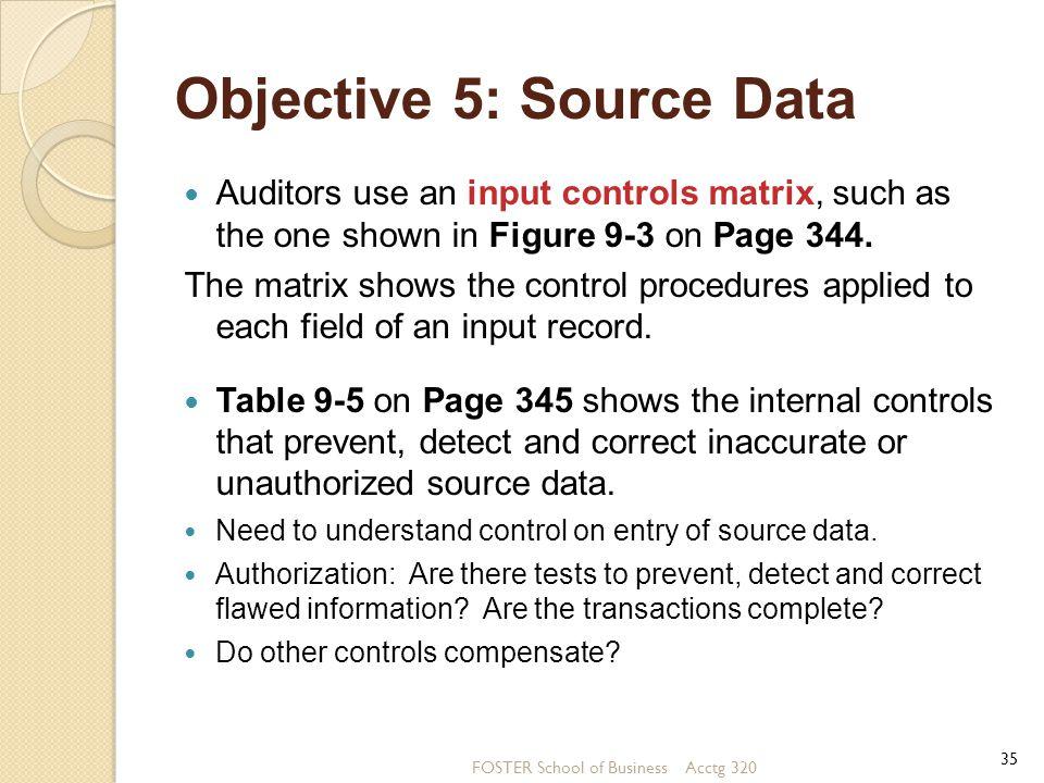 Objective 5: Source Data