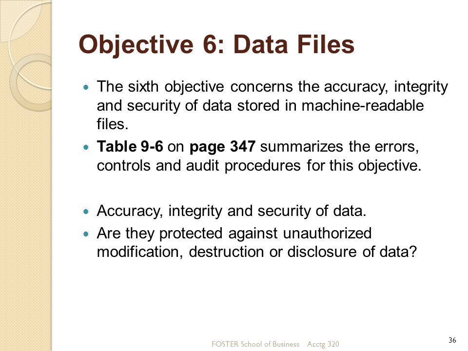 Objective 6: Data Files The sixth objective concerns the accuracy, integrity and security of data stored in machine-readable files.