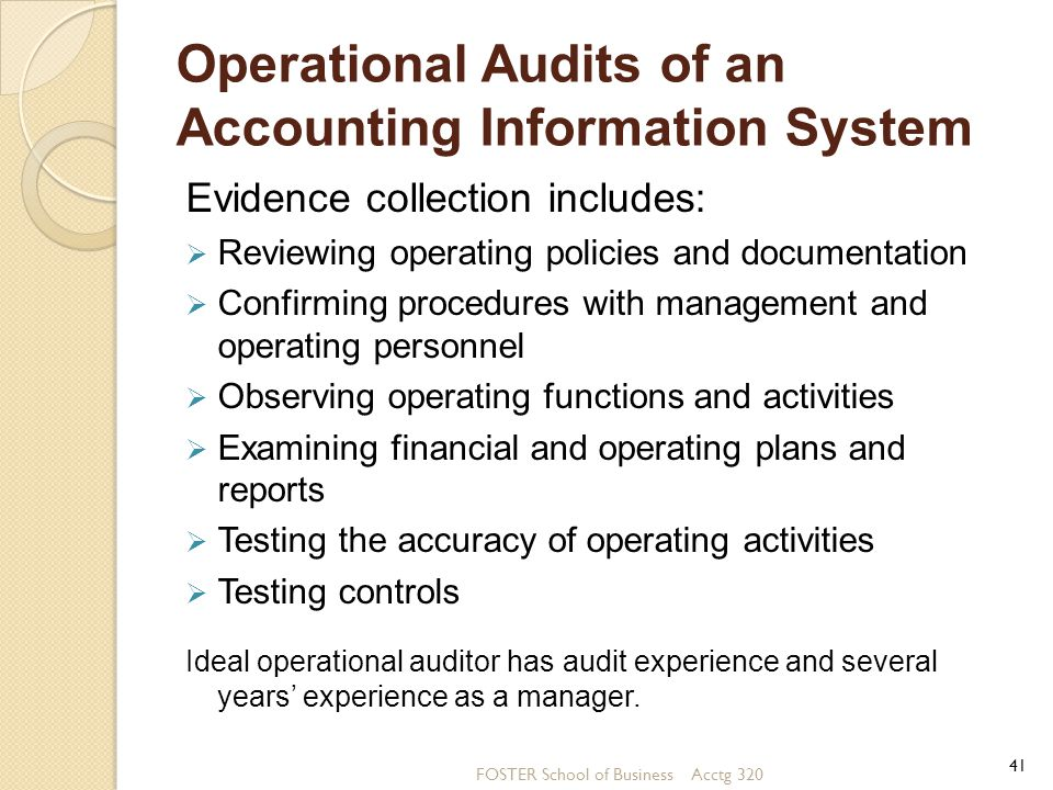 Operational Audits of an Accounting Information System