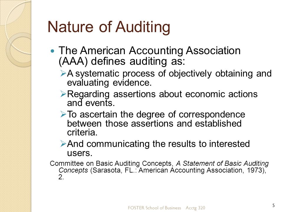 Nature of Auditing The American Accounting Association (AAA) defines auditing as: