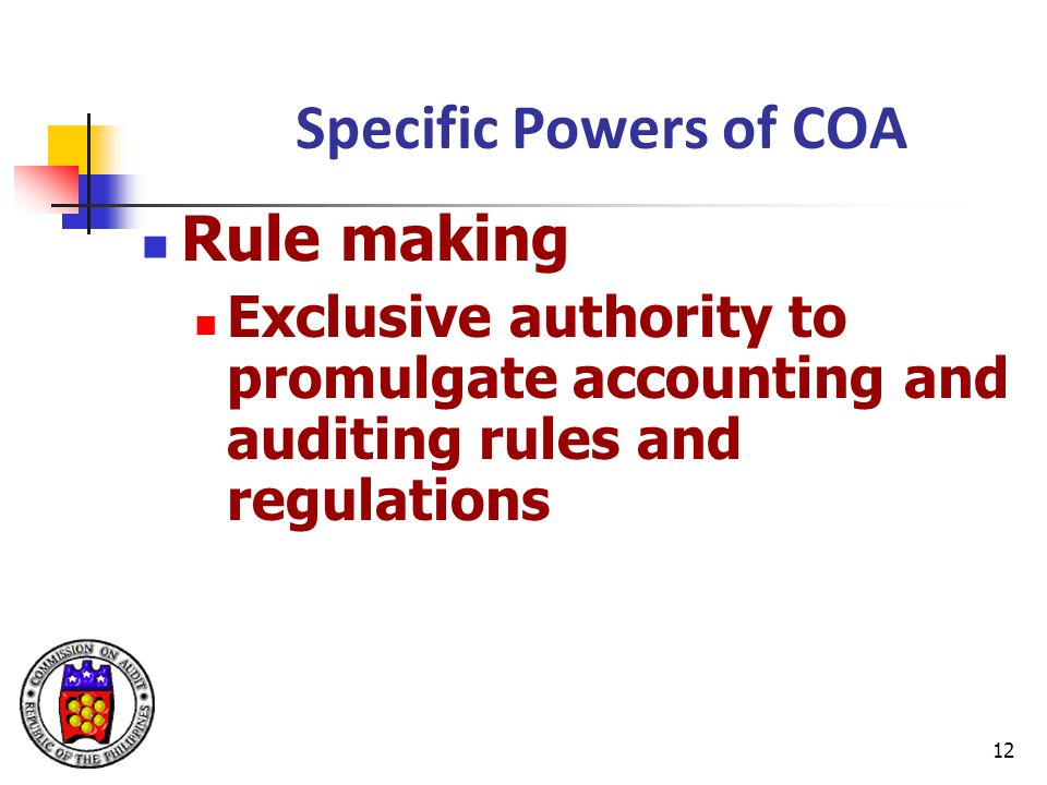 Specific Powers of COA Rule making