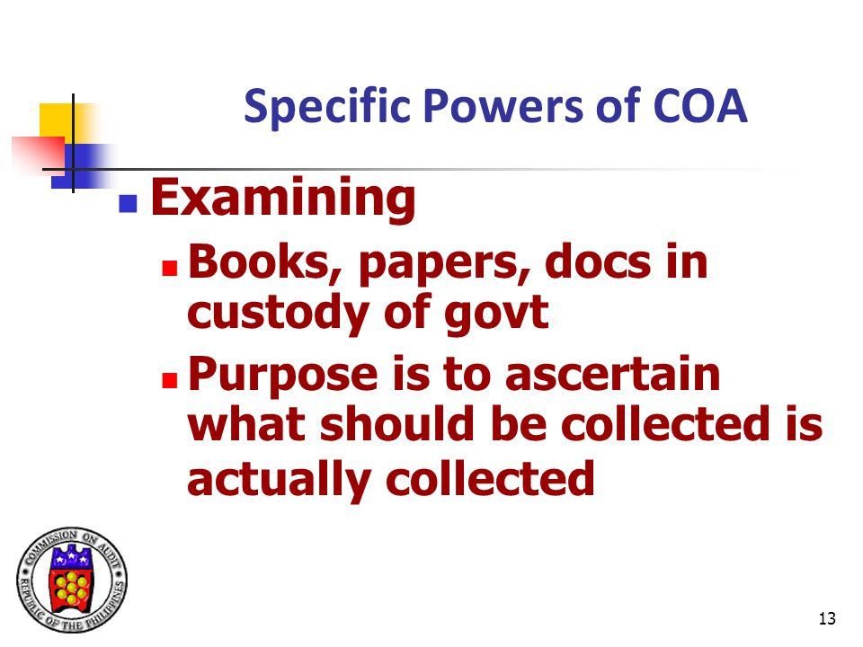 Specific Powers of COA Examining