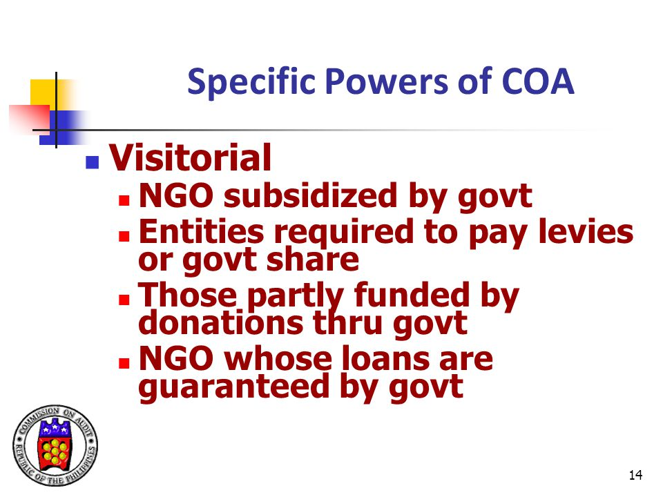 Specific Powers of COA Visitorial NGO subsidized by govt