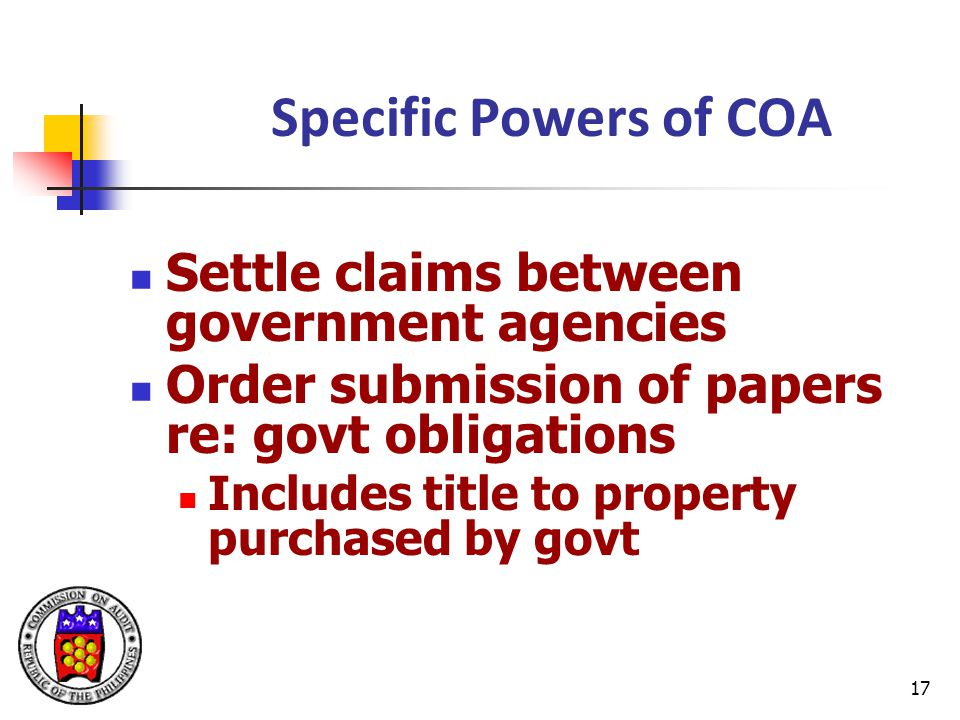 Specific Powers of COA Settle claims between government agencies