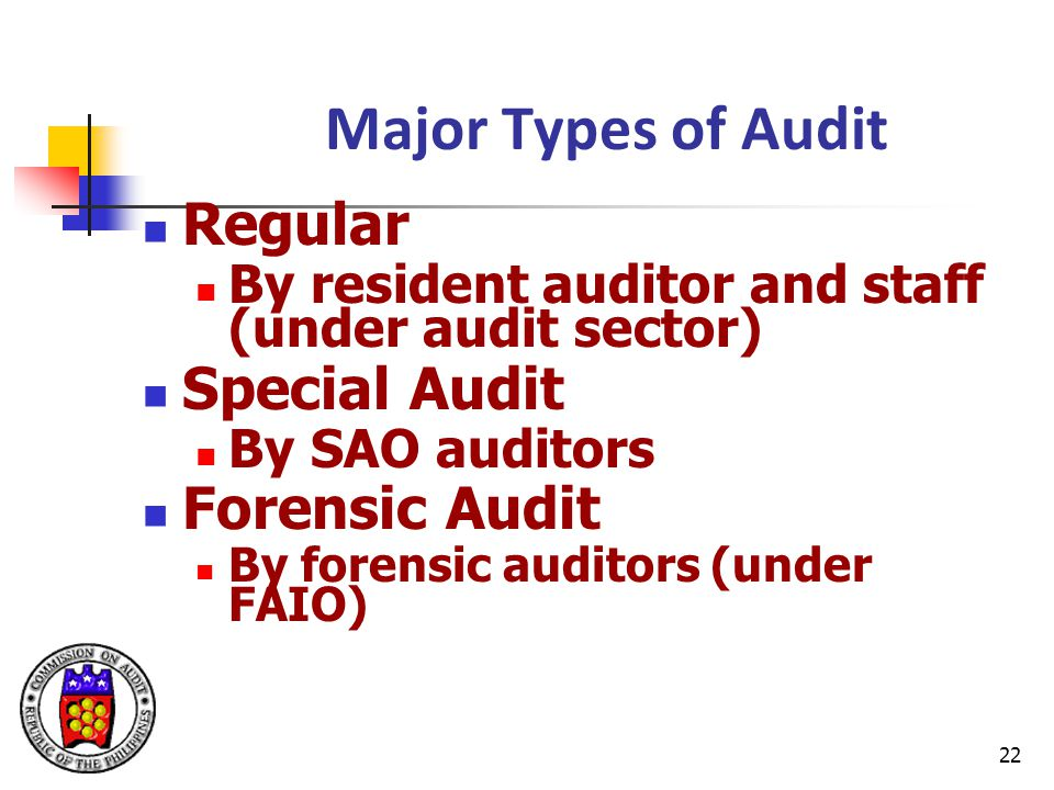 Major Types of Audit Regular Special Audit Forensic Audit
