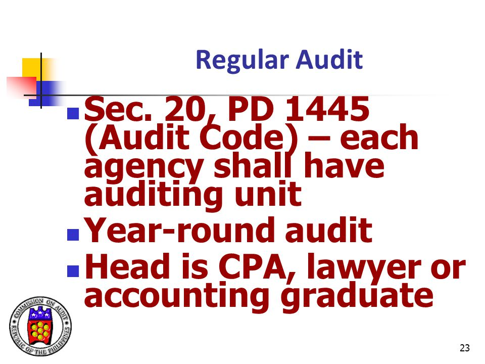 Sec. 20, PD 1445 (Audit Code) – each agency shall have auditing unit