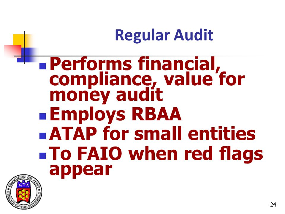 Performs financial, compliance, value for money audit Employs RBAA