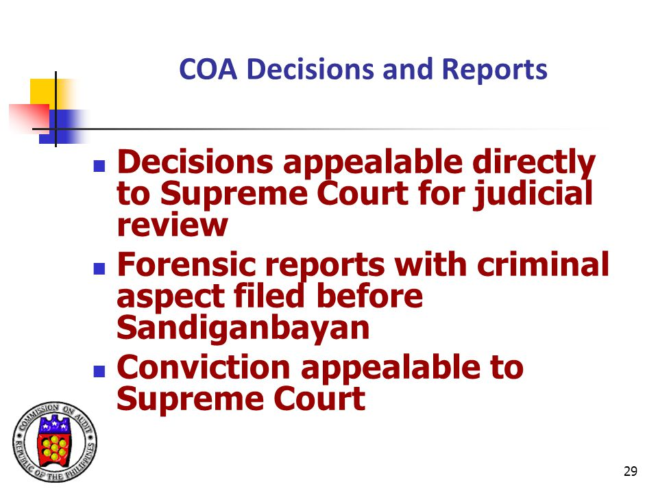 COA Decisions and Reports