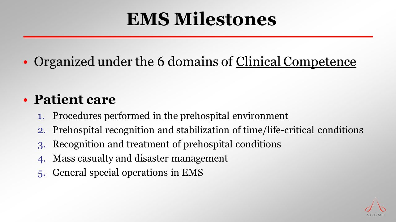 EMS Milestones Organized under the 6 domains of Clinical Competence