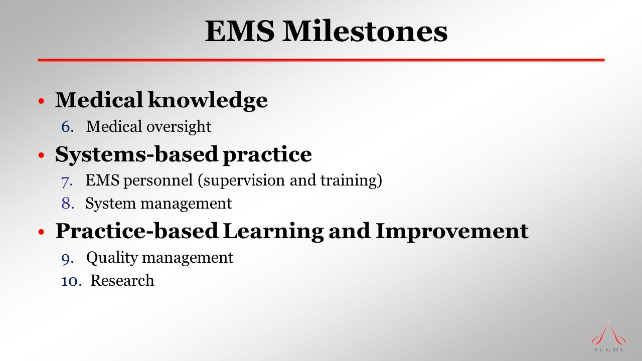 EMS Milestones Medical knowledge Systems-based practice