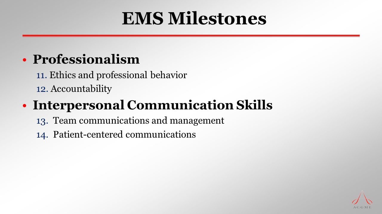 EMS Milestones Professionalism Interpersonal Communication Skills