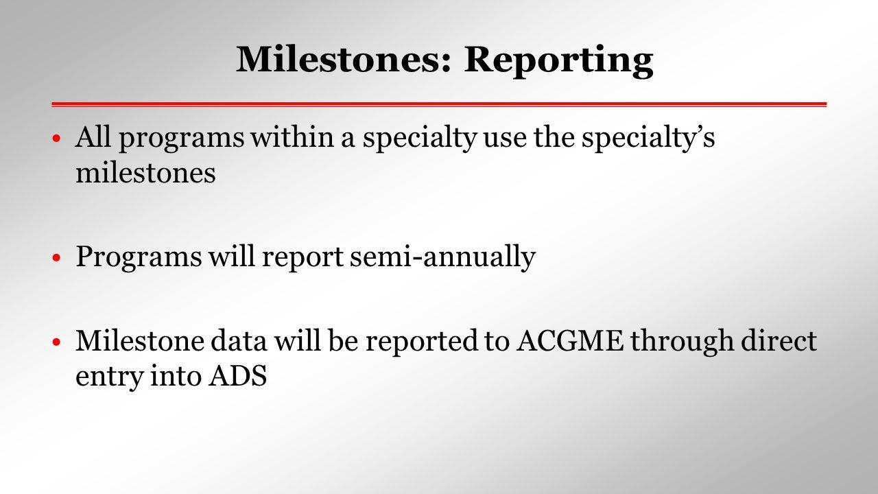 Milestones: Reporting