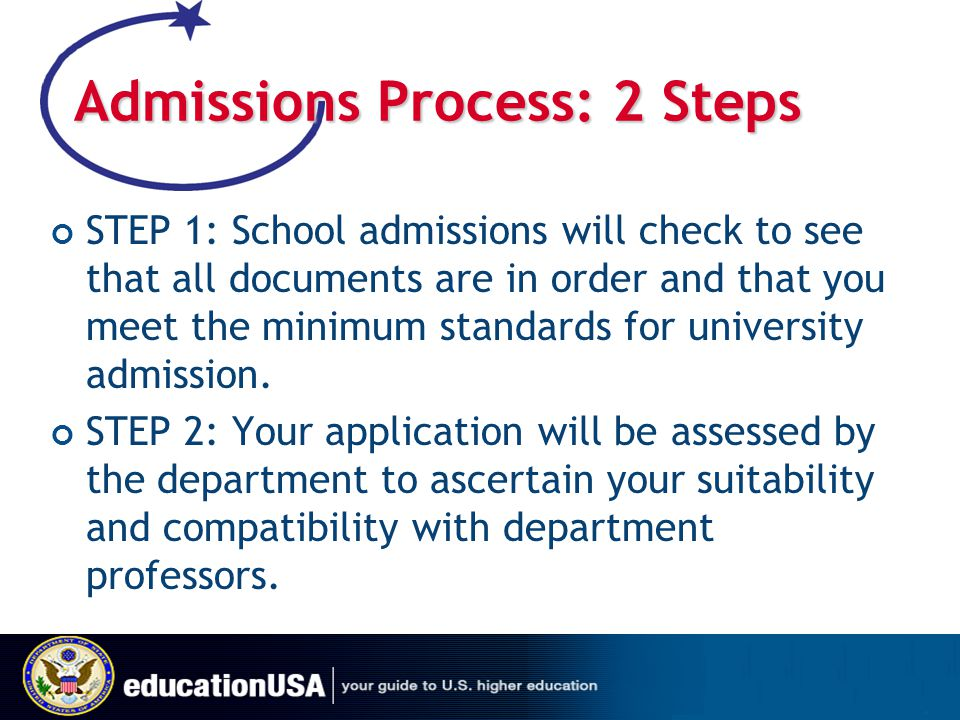 Admissions Process: 2 Steps