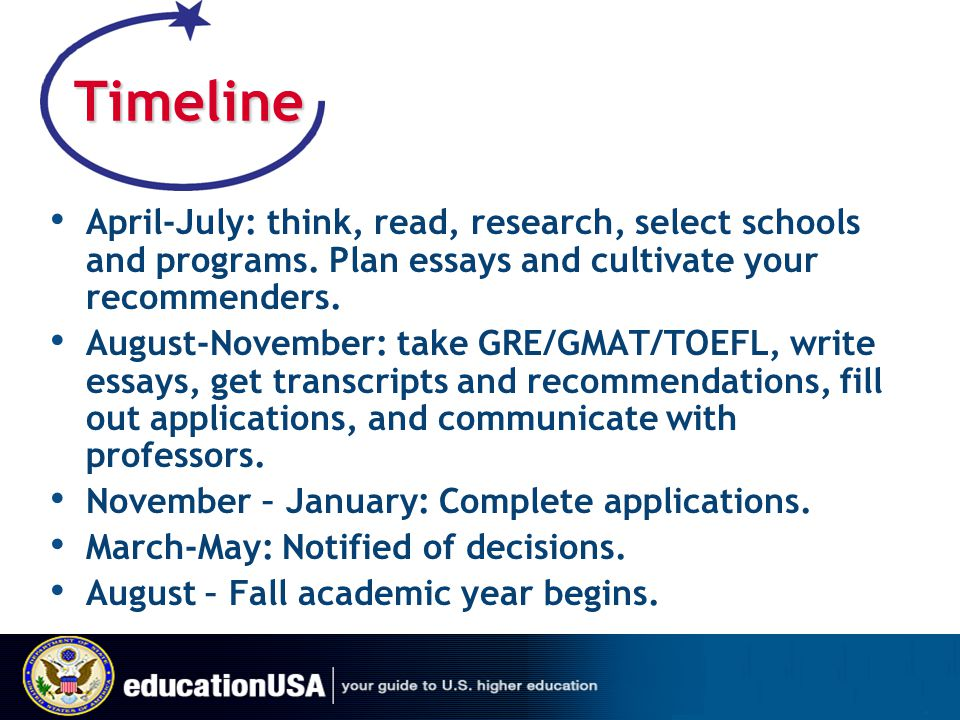 Timeline April-July: think, read, research, select schools and programs. Plan essays and cultivate your recommenders.