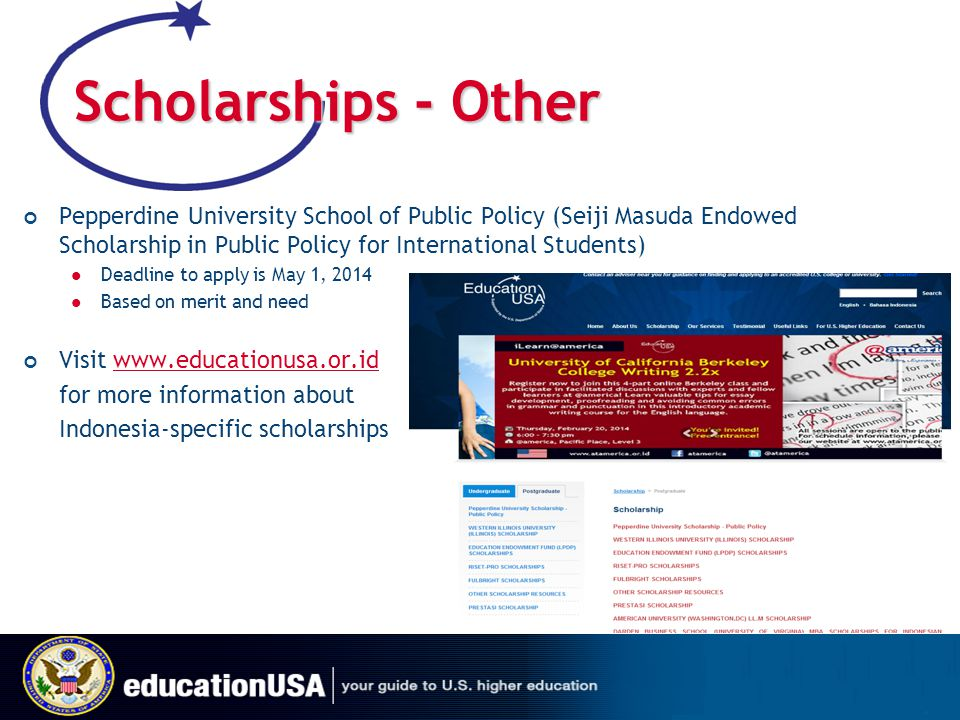 Scholarships - Other Pepperdine University School of Public Policy (Seiji Masuda Endowed Scholarship in Public Policy for International Students)