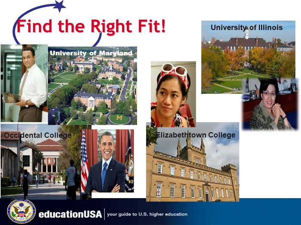 Find the Right Fit! University of Illinois Occidental College