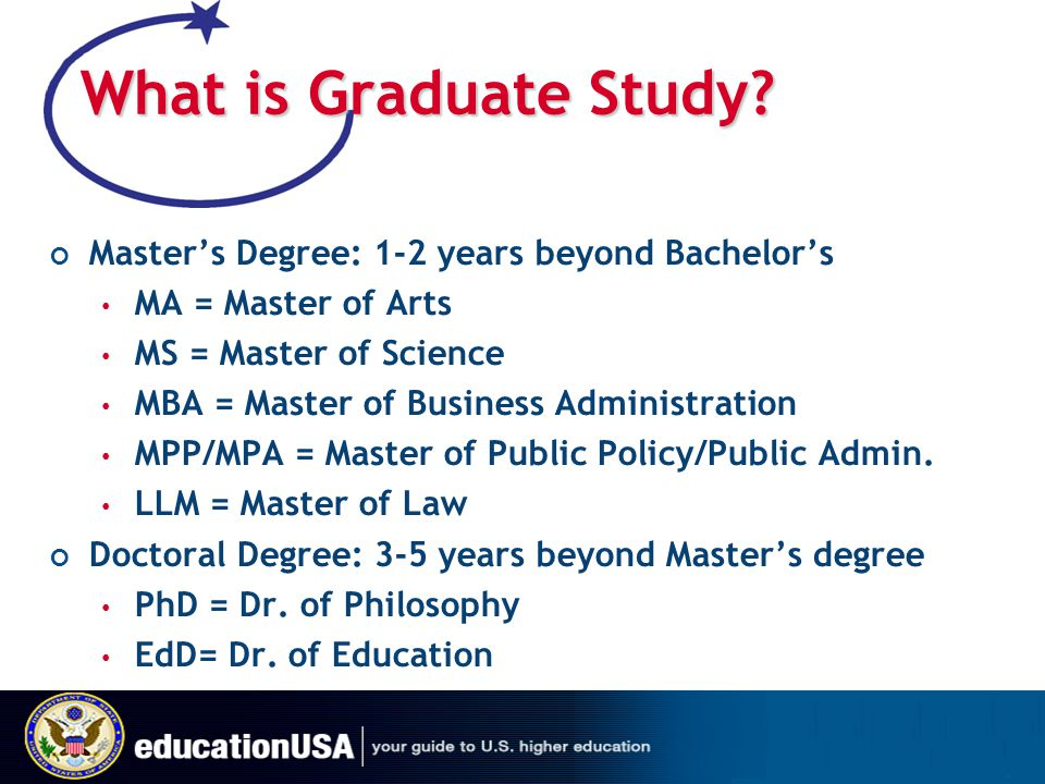 What is Graduate Study Master's Degree: 1-2 years beyond Bachelor's