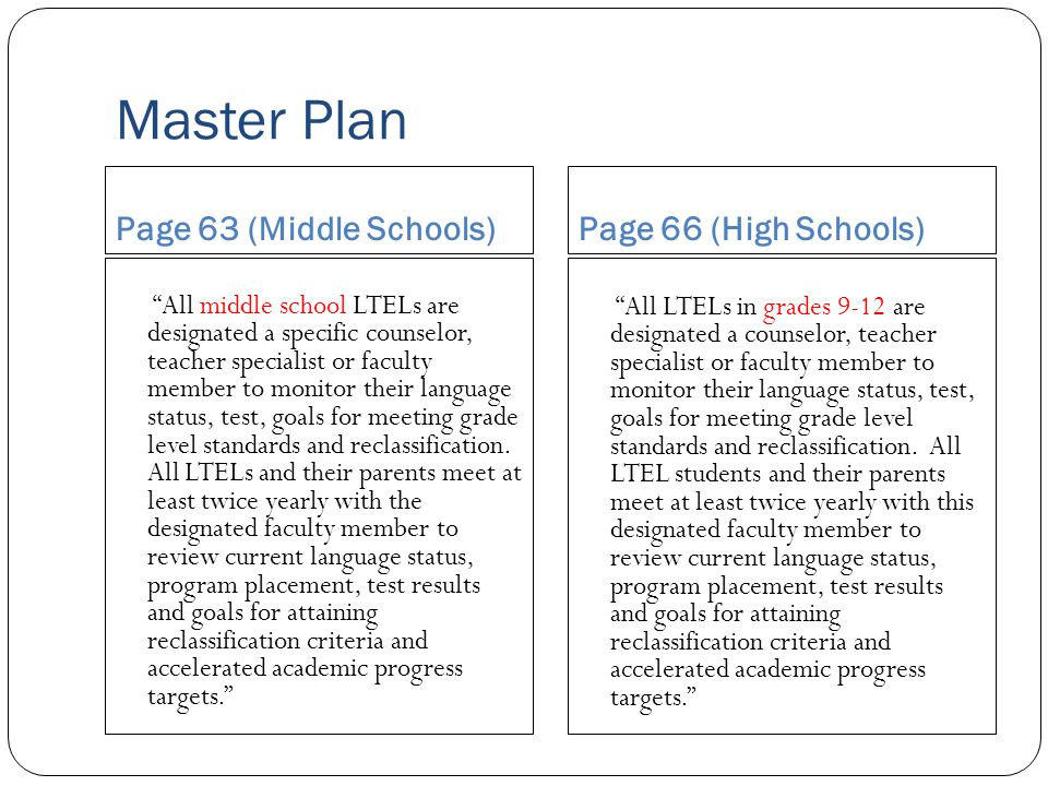 Master Plan Page 63 (Middle Schools) Page 66 (High Schools)