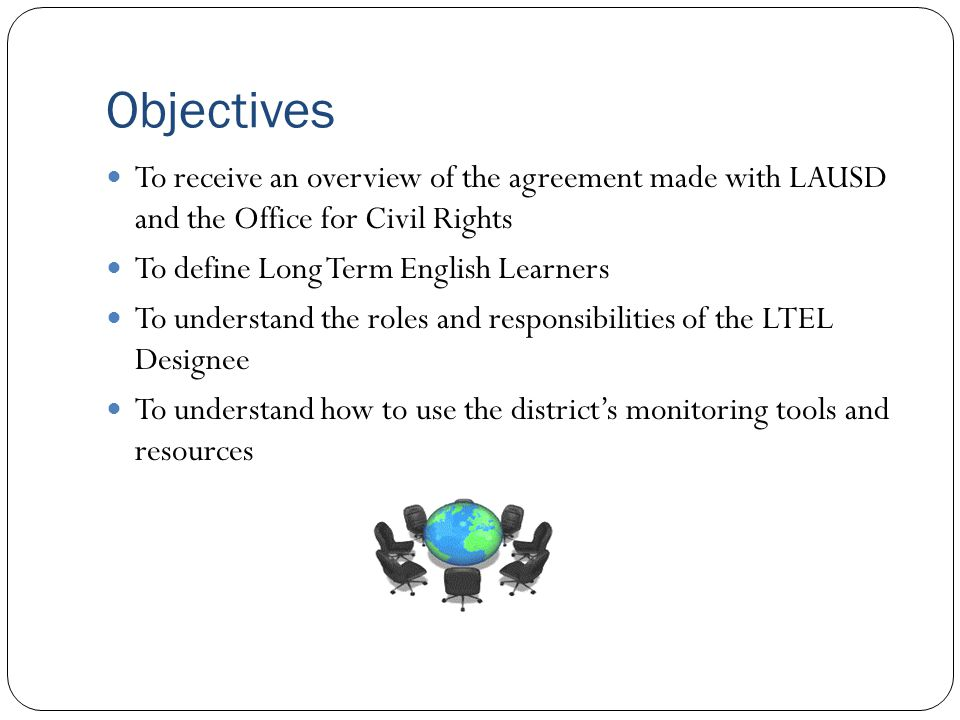 Objectives To receive an overview of the agreement made with LAUSD and the Office for Civil Rights.