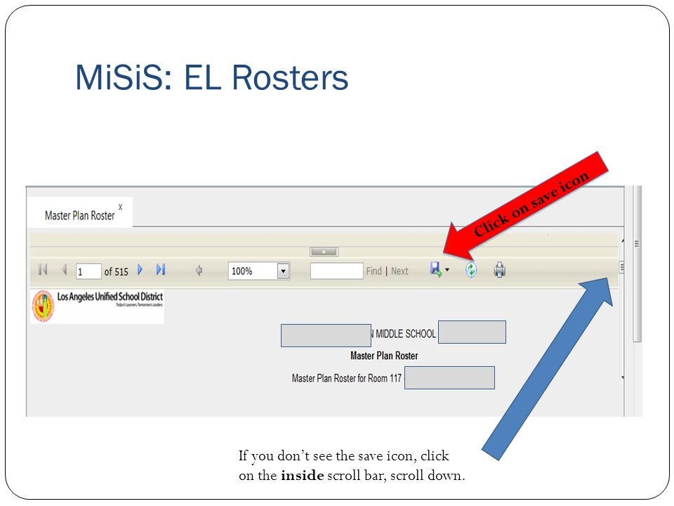 MiSiS: EL Rosters Click on save icon
