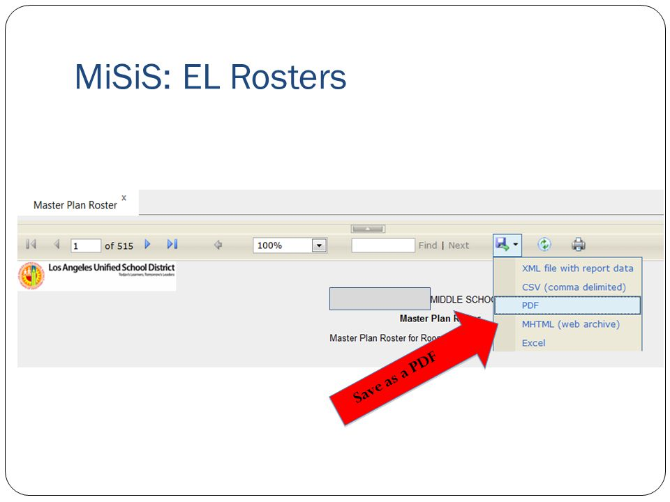 MiSiS: EL Rosters Save as a PDF