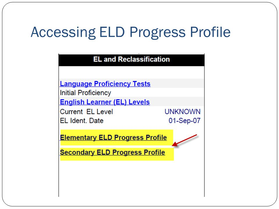 Accessing ELD Progress Profile