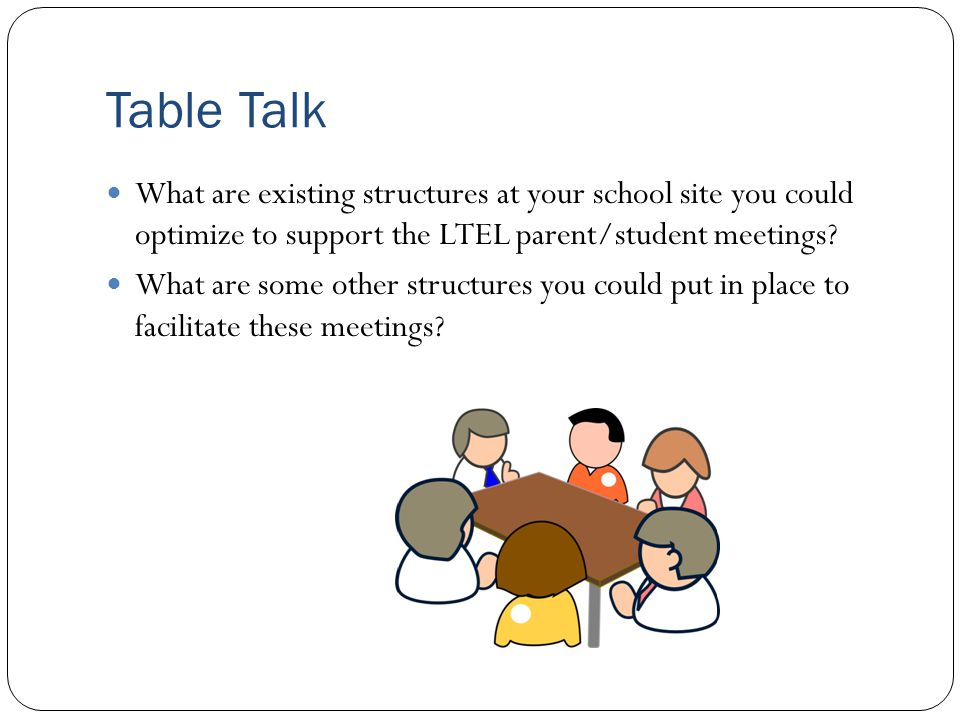 Table Talk What are existing structures at your school site you could optimize to support the LTEL parent/student meetings