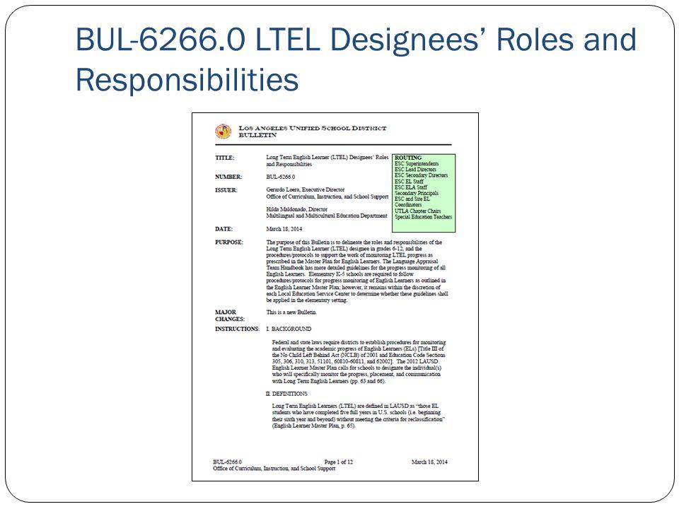 BUL-6266.0 LTEL Designees' Roles and Responsibilities