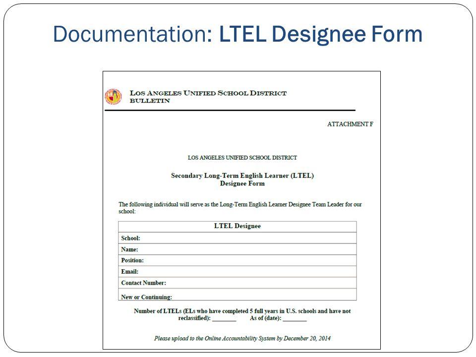 Documentation: LTEL Designee Form