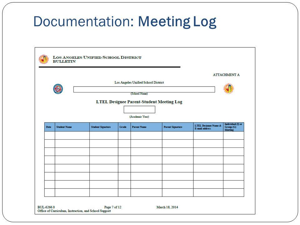 Documentation: Meeting Log