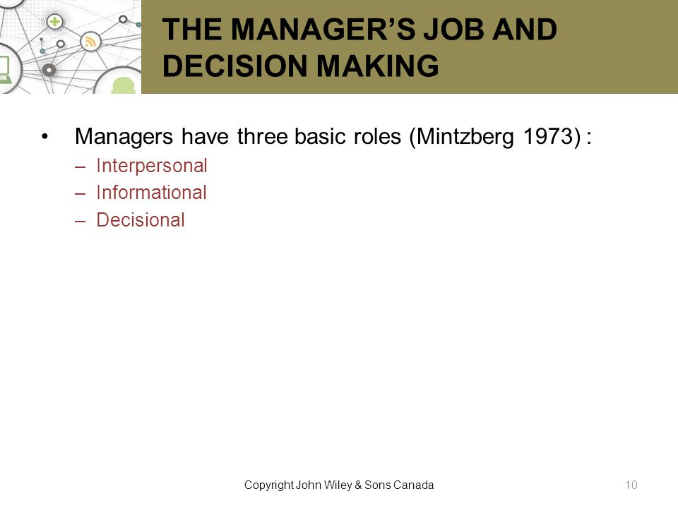 THE MANAGER'S JOB AND DECISION MAKING
