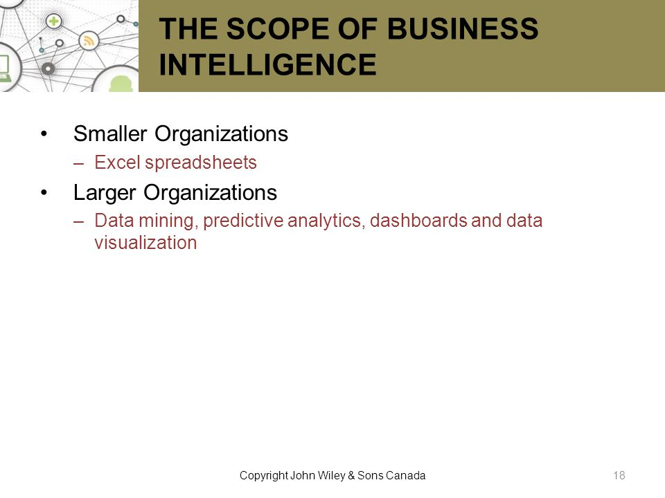THE SCOPE OF BUSINESS INTELLIGENCE