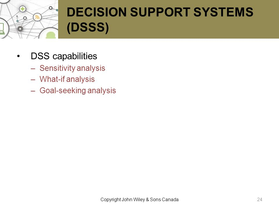 DECISION SUPPORT SYSTEMS (DSSS)