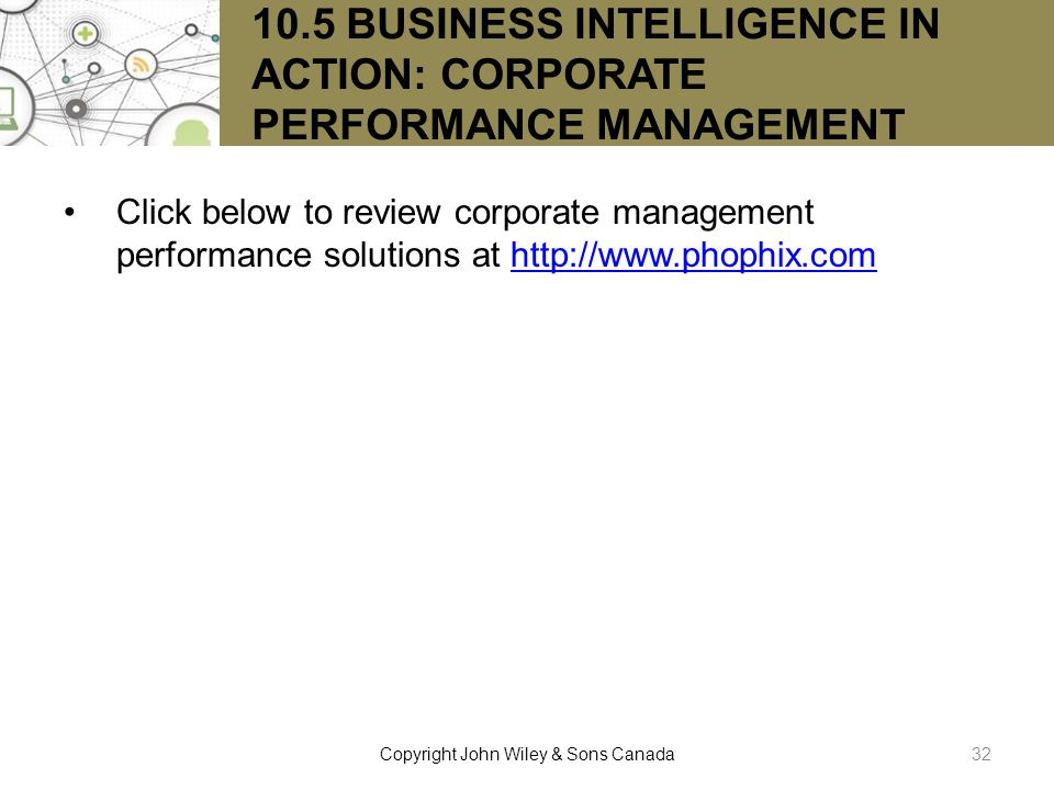 10.5 BUSINESS INTELLIGENCE IN ACTION: CORPORATE PERFORMANCE MANAGEMENT
