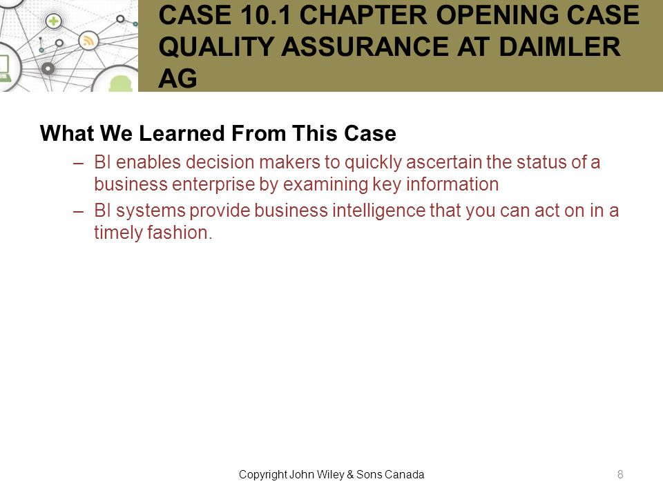CASE 10.1 CHAPTER OPENING CASE QUALITY ASSURANCE AT DAIMLER AG