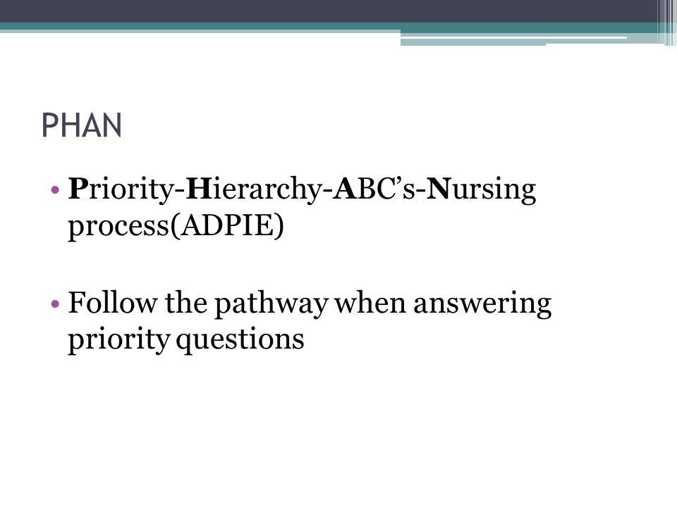 PHAN Priority-Hierarchy-ABC's-Nursing process(ADPIE)