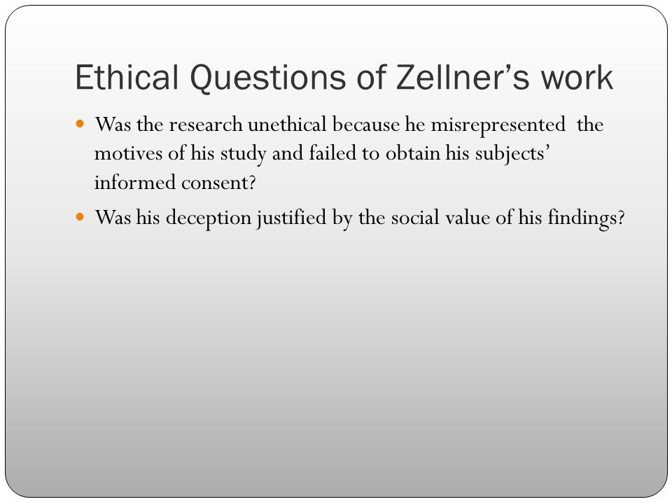 Ethical Questions of Zellner's work