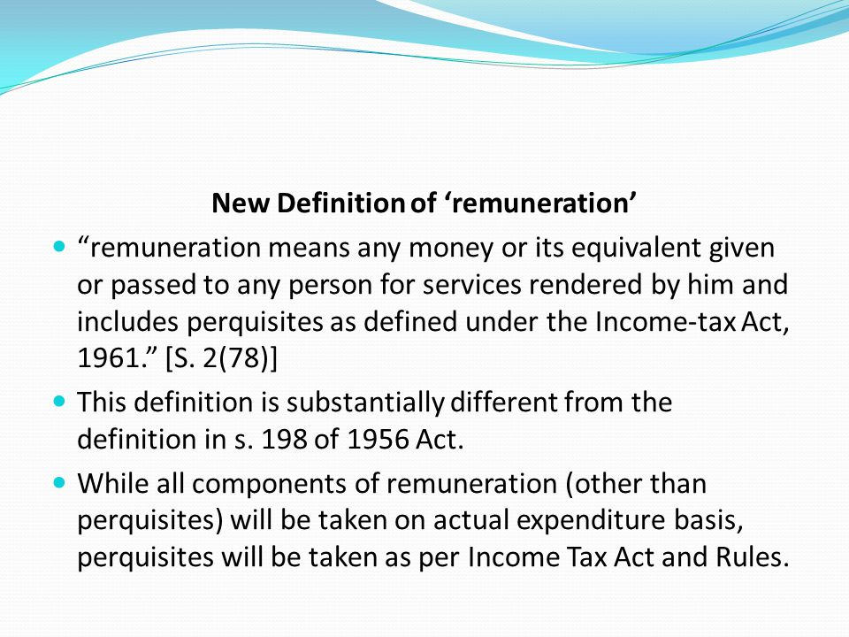 New Definition of 'remuneration'